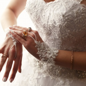 70018128 - the  bride weared a  wedding dress and gloves